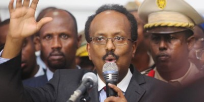 Somalia's newly elected President Mohamed Abdullahi Farmajo addresses lawmakers after winning the vote at the airport in Somalia's capital Mogadishu